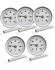 Milageto Hem industriell 63 mm temperaturmätare urtavla clip-on rör termometer 5 st