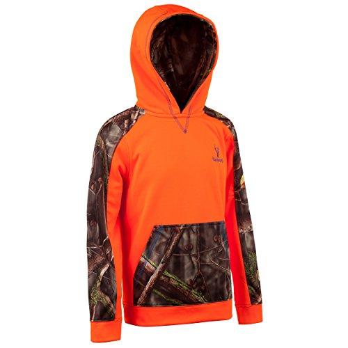 Childrens Camo Fleece Sweatshirt - Huntworth Boys Lifestyle Performance Fleece Hoodie, Blaze/Oak Tree EVO, Large