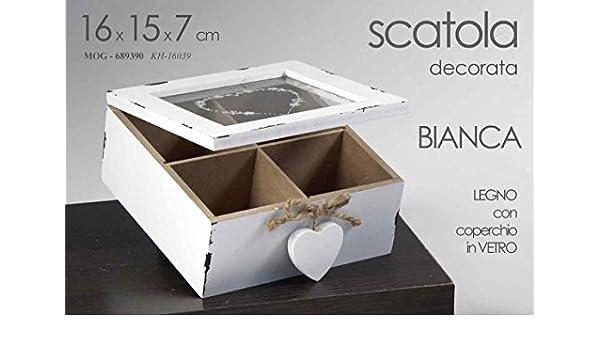 Caja blanca decorada con corazones de madera y tapa de cristal 16 ...