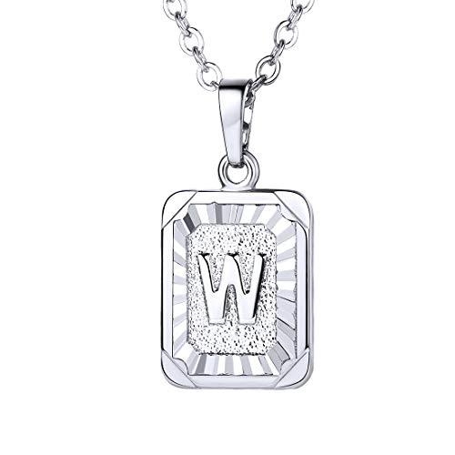U7 A-Z 26 Letters Pendant Men Womens Fashion Jewelry Platinum Plated Square Pendants Capital Initial Necklace (W) ()