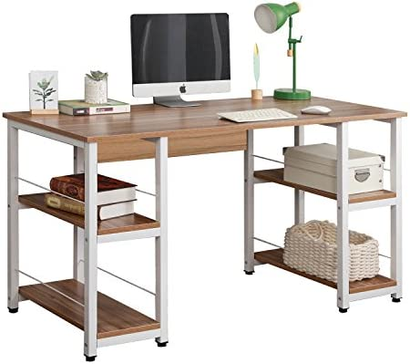Soges Home Office Desk 55 inches Computer Desk,Storage Desk Morden Style with Open Shelves Worksation, Oak DZ012-140-OK