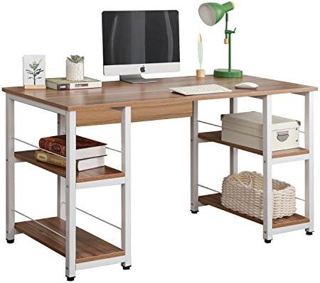 Soges Home Office Desk 55 inches Computer Desk,Storage Desk Morden Style with Open Shelves Worksation, Oak DZ012-140-OK