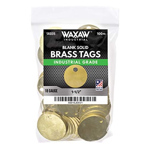 "1X035 100 Pack - 1.50"" Solid Brass Stamping Tags Industrial Grade (0.040) Blank Chits for Pipe Valves, Tool Check-Out and Equipment Labeling"