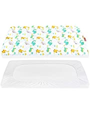 """Pack n Play Sheet Quilted,Mini Crib Sheet,Crib Mattress Protector,Crib Mattress pad Cover,Breathable Thick Play Yard Playpen Sheets,Lovely Print 39""""×27""""×5"""" Fitted Baby Portable Mini Cribs,Graco Play Yards and Foldable Mattresses Pack and Play Pad"""