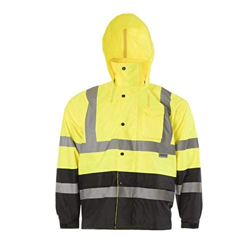 (JORESTECH High Visibility Light Weight Waterproof Rain Jacket ANSI/ISEA 107-2015 Class 3 Level 2 Yellow/Black (Large))