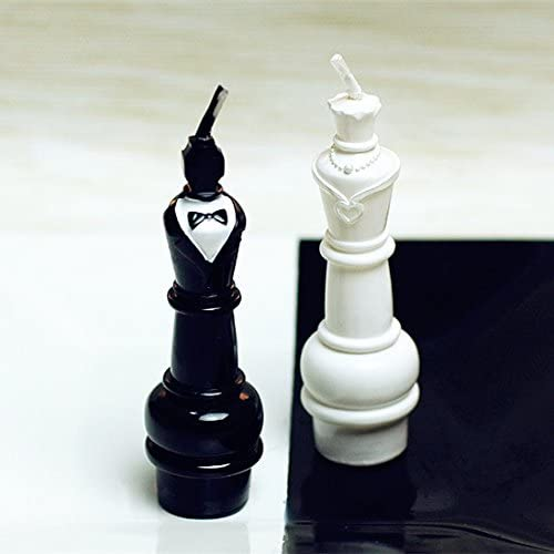 Set of 2 Mini Chess Couple Decorative Candle Cake Topper Valentines Day Anniversary Gift with Greeting Card Wedding Decoration