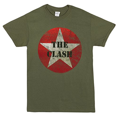 (The Clash Stencil Star Logo Adult T-shirt - Military Green (Medium))