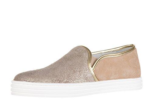 Hogan Rebel slip on donna in camoscio sneakers nuove originali r141 oro