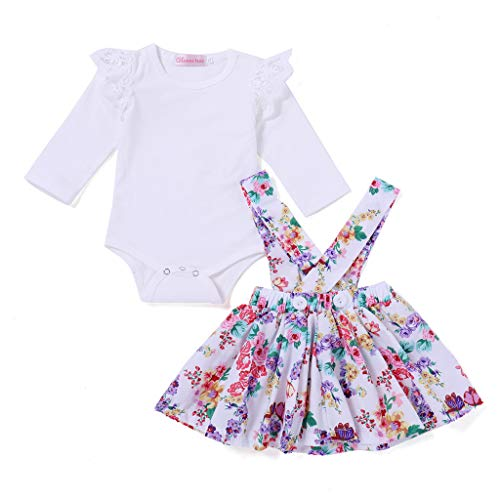 Toddler Girls Socks,Newborn Baby Girl Toldder Floral Print Tutu Dress+Jumpsuit Romper Set Outfit,Baby Girls' Costumes,White,70