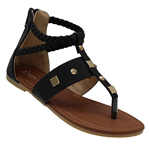 Picture of Jessica Carlyle Jillian-53K Girls Sandals Gladiator Flip Flops Thong Shoes Flats Beach Shoes Black 3