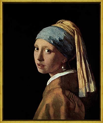 (Berkin Arts Framed Johannes Vermeer Giclee Canvas Print Paintings Poster Reproduction(Jan Vermeer Van Delft Girl with Pearl)