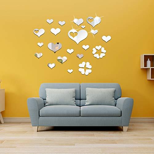 OOTSR 33 Piezas Corazón Pegatinas Pared Espejo, Acrílico Vinilos Adhesivos Espejo, Murales Adhesivos y Pegatinas de…