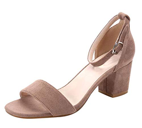 CAMSSOO Women's Chunk Low Heeled Pump Sandals with Sexy Open Toe Ankle Strap Camel Velveteen Size US7 EU37 ()