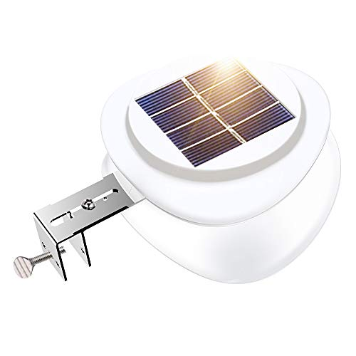 Solar Fence Lights, Outdoor 9 LED Gutter Light Waterproof Security Lamps for Eaves Garden Landscape Walkway (Warm White, 1 Pack)