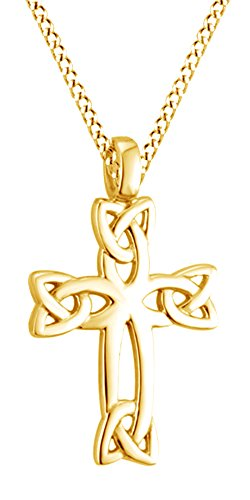 Celtic Cross Pendant Necklace 14K Yellow Gold Over Sterling Silver