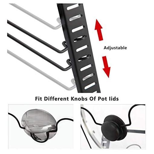 Kitchen X-cosrack Pot Lid Organizer Holder Rack for Kitchen Cabinet Door Wall Mount with 12 Dividers Adjustable Heights ,4… pot lid holders