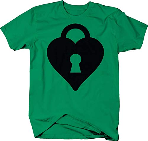 Heart Locket Pendant Necklace Love Lock and Key Couple Tshirt XLarge Kelly Green