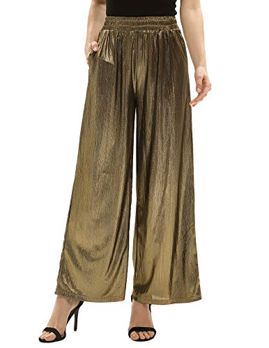 Women Formal Party Sequin Shiny Wide Leg Pants Trouser Evening Party Night Out Plus Size XXL Golden CL916-2