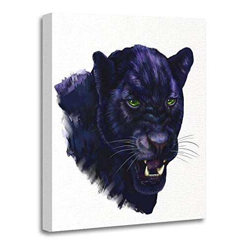 Emvency Painting Canvas Print Wooden Frame Artwork Animal Black Panther Digital Painting Head Jaguar Big Brush Canvas Carnivore Decorative 12x16 Inches Wall Art for Home (Jaguar Wall Brush)
