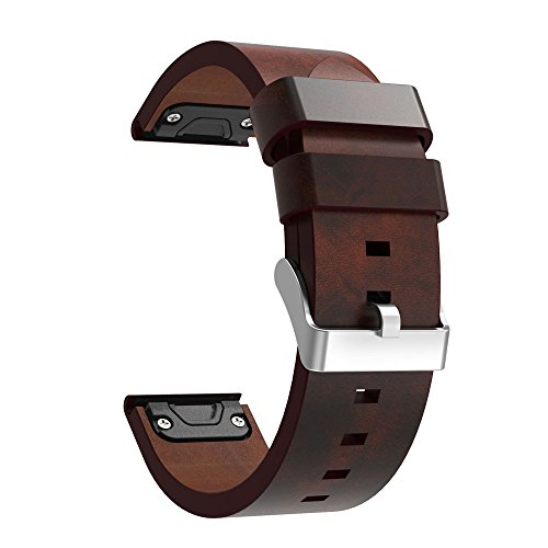Orcbee  _Luxury Leather Strap Replacement Watch Band with Tools for Garmin Fenix 5 Plus Watch