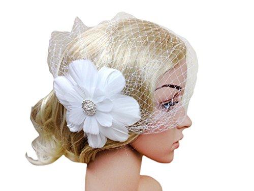 Vimans Women's White Feather Veil Hats Hair Clip Headwear Wedding Fascinators (Mini Hat With Veil)