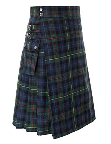 (SCARLET DARKNESS Men's Scottish Black Stewart Tartan Kilt (Black Stewart, XL))