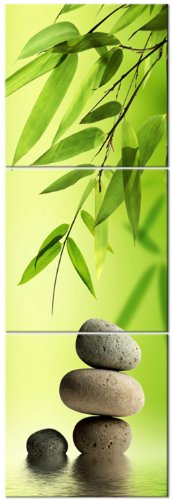 ZEN BAMBOO STONES ready to hang 3 panel set digital wall print mounted on fiberboard better than stretched canvas prints Size 16x16x1 inch X3Panels