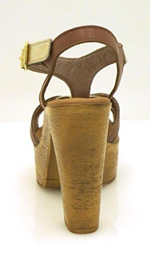 Innocent mantequilla-suave Sandalias Sandalias de cuero Zapatos piel Tacón Alto 190-SS02 Oro