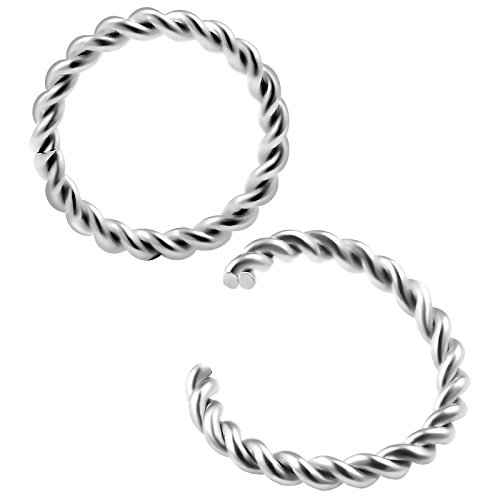 16g 5/16 8mm segment seamless ring twisted wire Piercing Jewelry Nose Septum Helix Cartilage Tragus M0702 ()