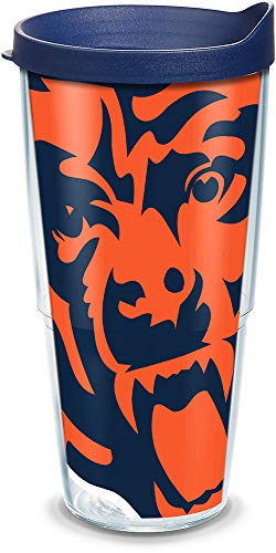 (Tervis 1085144 NFL Chicago Bears Colossal Tumbler with Wrap and Navy Lid 24oz, Clear)