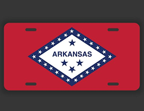 JMM Industries Arkansas State Flag AR Vanity Novelty License Plate Tag Metal Car Truck 12-Inches by 6-Inches UV Resistant Print UVP018