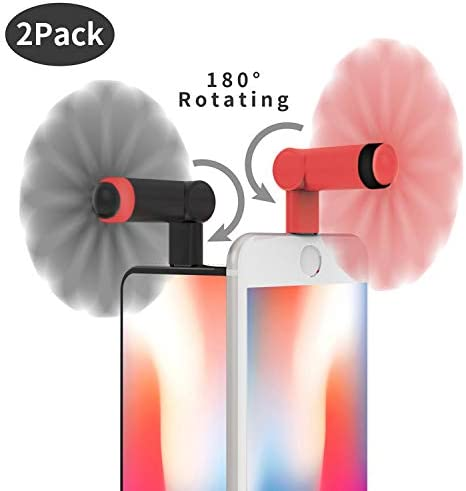 Genuie Fan for iPhone 2 Packs , Mini Fan with 180 Rotating, Strong Wind, Lightweight Compatible for iPhone, iPad, iPod and Any Lighting Devices. Upgraded Version Black and Rose Red