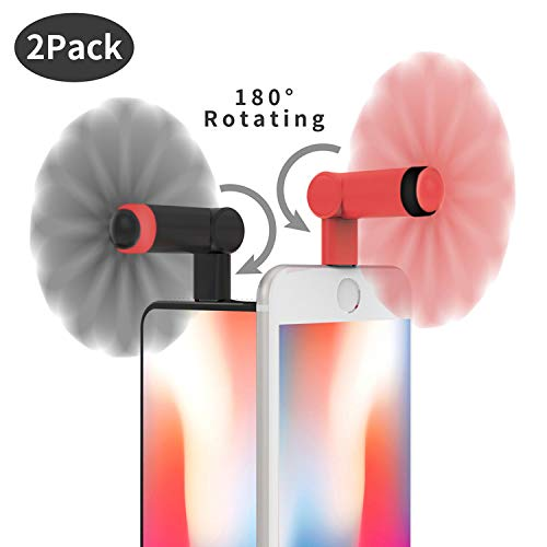 Genuie Fan for iPhone(2 Packs), Mini Fan with 180 Rotating, Strong Wind, Lightweight Compatible for iPhone, iPad, iPod and Any Lighting Devices. Upgraded Version (Black and Rose Red)
