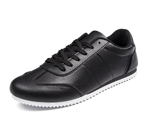 Estudiantes Zapatillas de deporte Casual antideslizante Soles suaves Lace-up Breathable Low Top Wareable Gimnasio Classic Blanco Negro Zapatos UE Tamaño 39-44 Black