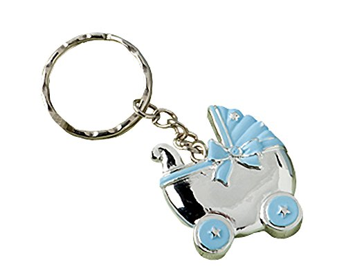 Baby Carriage Design Key Chains, Baby Shower Party Favors, Blue, Set of 50