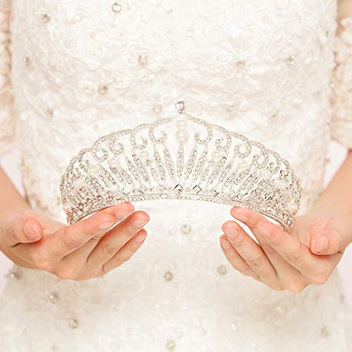 (Jovono Wedding Crown and Tiara Bridal Silver Vintage Crown With Beaded for)