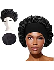 Extra Large Satin Silk Bonnet Sleep Cap Womens Night Sleep Caps with Adjustable Elastic Band, Soft Stretch Hat for All Hairstyle Satin Cap for Sleeping Hair Bonnet Black 1pcs