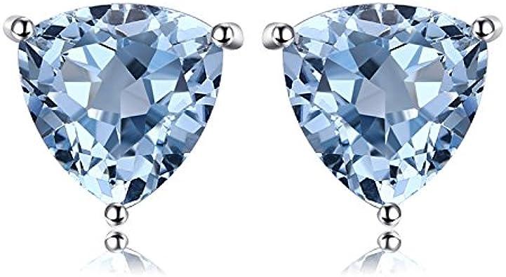 JewelryPalace Pendientes Oval Redondo Triángulo Forma Natural Amatista Púrpura Citrino Granate Rojo Peridoto Verde Topacio Azul Birthstone Aretes Sólido Plata de ley 925