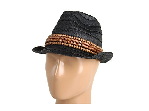 Jessica Simpson Women's Wooden Banded Fedora, Black 57 ()