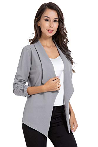 AUQCO Casual Open Front Blazer for Women Work Office Business Jacket Ruched 3/4 Sleeve Lightweight Draped Cardigan Grey, Medium