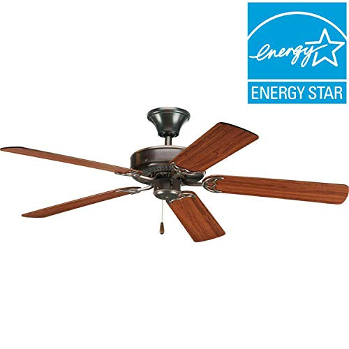 (Progress Lighting AirPro 52-in Antique bronze Indoor Downrod Or Close Mount Ceiling Fan)