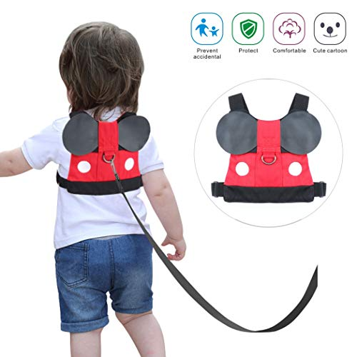 Idefair Kids Harness, Kid Leash Anti Lost Belt Harness Safety Walking Leash for Age 1-5 Years Old Boys & Girls to Disneyland, Mall or Zoo – Mickey Red