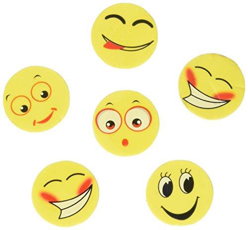Assorted Round Emoji Face Erasers