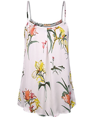 MCKOL Women's Sleeveless Floral Pleated Knit Shirts Casual Loose Tunic Tank Tops(Multicolor White,X-Large)
