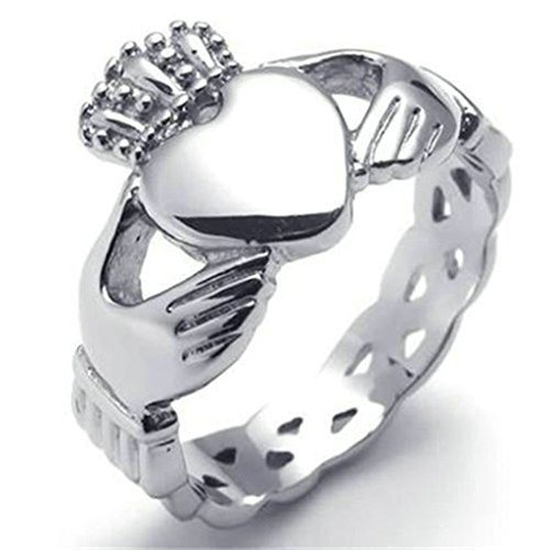 [Stainless Steel Ring for Men, Heart Ring Gothic Silver Band 15MM Size 10 Epinki] (Lion Costume Philippines)