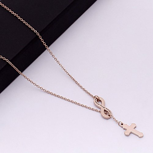 VISUNION Cross Infinity Pendant With God All Things are Possible Necklace (Rose gold) Inspirational Gifts for Women by VISUNION (Image #3)