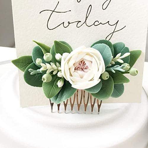 Floral Hair Comb White Greenery Hair Comb Boho Flower Comb Wedding Comb Blush Rose Comb Bridal Comb Eucalyptus Wedding Hair Comb