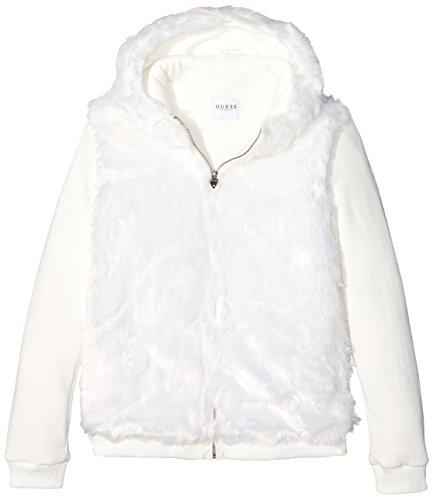 GUESS Girls' Big Hood Faux-Fur Jacket, Macadamia, - Jacket Guess White