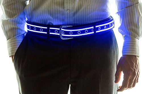 Neon Nightlife Light Up LED Belt, Medium, 29-36 Inches Waist Size, Blue