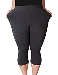 Zerdocean Women's Modal Plus Size Basic Solid Color Capri...